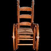 Vintage Doll Artist Wood Miniature Ladder Back Chair Wheel Chair AMAZING Dollhouse Wheelchair