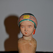 Old Doll Unusual Wood Body Terracotta Head Oriental RARE