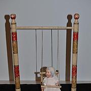 Old Doll Swing W/ Artist Bisque Baby Doll Wonderful Wood Doll Swing