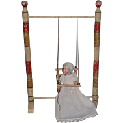 Old Doll Swing W/ Artist Bisque Baby Doll Wonderful Wood Doll Swing