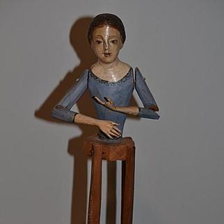 Old Doll Wood Carved Santos On Rotating Base Primitive Enamel Eyes