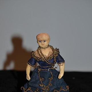 Antique Doll TWO DOLLS Wax Miniature Primitive Unusual