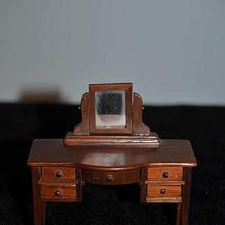 Vintage Doll Miniature Vanity W/ Swivel Mirror Dollhouse Desk