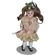 Antique Doll Miniature All Bisque Glass Eyes Dollhouse Jointed ADORABLE
