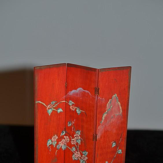 Vintage Doll Hand Painted Screen Miniature Dollhouse Folding Screen