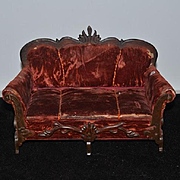 Antique Doll Sofa Settee W/ Hidden Trousseau RARE French Fashion Fancy