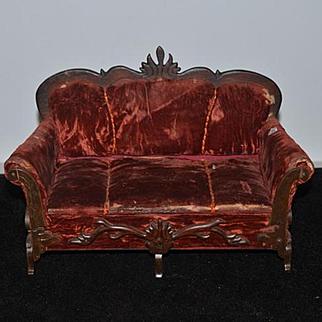 Antique Doll Sofa Settee W/ Hidden Trousseau RARE French Fashion Fancy
