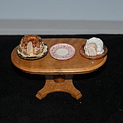 Vintage Doll Miniature Wood Table With Dollhouse Dessert Miniature Cakes Fancy
