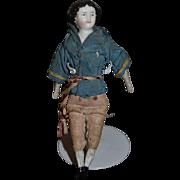 Antique Doll Miniature China Head Doll Boy Early Fancy Dollhouse