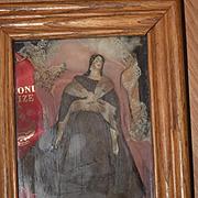 Antique Doll Milliner's Model Wood & Papier Mache Miniature in Frame Award Winning ORIGINAL CLOTHING Rare Hair Style