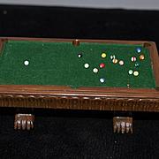 Wonderful Artist Miniature Pool Table and Pool Sticks W/ Stand Big LOT Signed Rae Backus