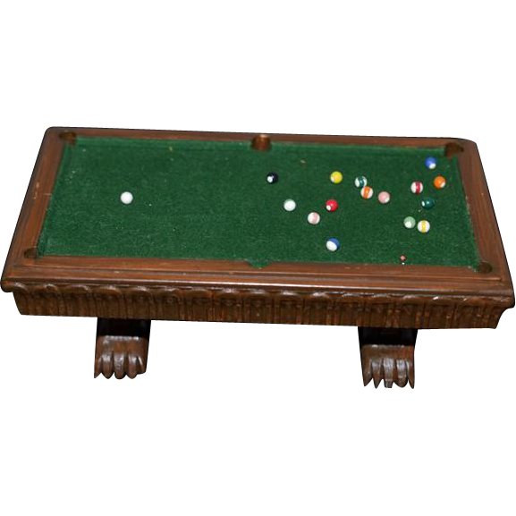 Wonderful Artist Miniature Pool Table And Pool Sticks W Stand Big Lot Oldeclectics Ruby Lane
