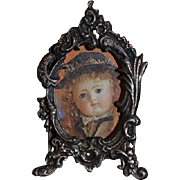 Vintage Doll Miniature Sterling Ornate Frame W/ Doll Picture