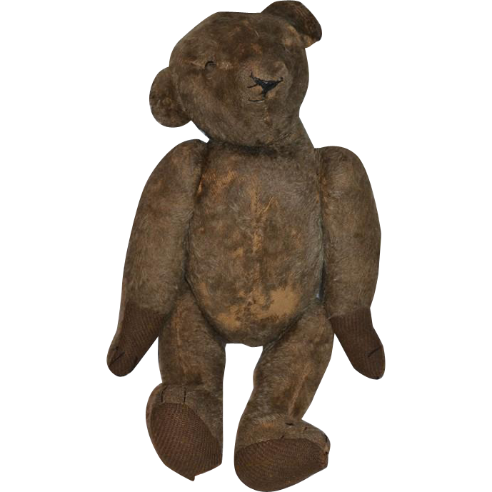 """Antique Teddy Bear Jointed Hump Back Shoe Button Eyes Wonderful 23"""" Tall Mohair"""