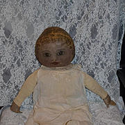 """Antique Columbian Doll Cloth Doll Rag Doll Oil Cloth LARGE Oil Painted HUGE 28"""" Tall"""