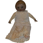"Antique Columbian Doll Cloth Doll Rag Doll Oil Cloth LARGE Oil Painted HUGE 28"" Tall"
