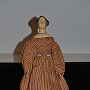 Antique Doll Papier Mache Fancy Hair Style LARGE Doll Wood Carved Fancy Knot W/ Porvenance
