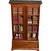 Vintage Doll Miniature Book Cabinet Chest Book Case w/ Books Dollhouse Bookcase Glass Front