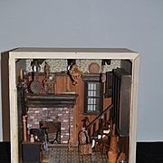 Old Doll Miniature Diorama Dollhouse Antique Store Filled W/ Miniatures Glass Front Room Box