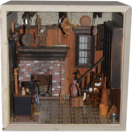 Old Doll Miniature Diorama Dollhouse Antique Store Filled