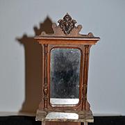 Wonderful Doll Miniature Hall Tree Mirror W/ Marble Ornate