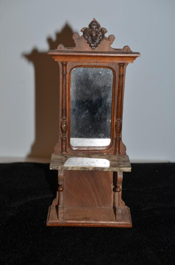 Wonderful Doll Miniature Hall Tree Mirror W Marble Ornate