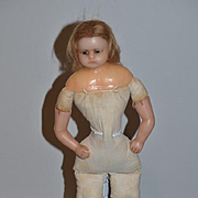 Antique Doll Wax Glass Eyes Pouty Face Sweet!