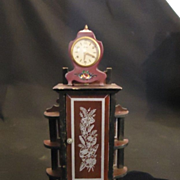 Old Miniature Eluxa Swiss French Enamel Real Carriage Mantle Clock Doll House