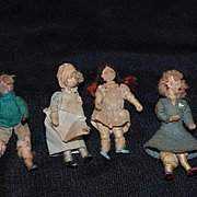 Old Doll Set Miniature Cloth Dolls Drawn on Faces Dollhouse Unusual Dressed in Costume