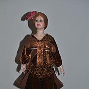 Vintage Doll Edna Daly Artist Doll Wax Doll Glass Eyes Original Costume