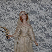 Vintage Doll Edna Daly Wax Artist Doll Bride Signed and Dated