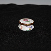 Old Doll Miniature Bilston English Enamel Box Hinged W/ Flowers Vanity Jar
