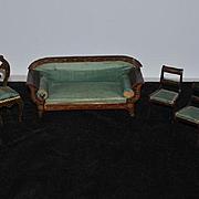 Antique Doll Miniature Biedermeier Sofa Chairs Fancy Dollhouse Upholstered Wood