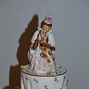Old Rare Tisaniere W/ Amusing Monkey and Dog German Porcelain