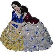 Antique China Head Doll Rare Figurine Conte & Boehme Two Dolls Inkwell ink Well Porcelain Beautiful