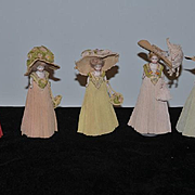 Antique Doll Set Wedding Party W/ Bride Bisque Doll Dolls in Crepe Gowns and Hat Original Miniature Dollhouse