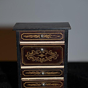 Old Miniature Doll Chest Biedermeier Wood Chest Ornate Dollhouse W/ Pull out Desk & Mirror  Waltershausen Boule