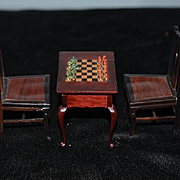 Old Miniature Doll Wood Chairs & Chess Table with Set Inlaid Dollhouse
