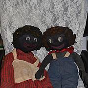 Wonderful Vintage Doll Set Cloth Dolls Black Dolls Rag Dolls Folk Art LARGE