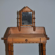 Antique Bamboo Doll Dressing Table Vanity Wood French Fashion Size!!