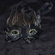 Vintage Doll Face Mask Feathers Masquerade For your Doll