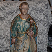 "Old Carved Santos Figurine Large Statue W/ Baby Ornate Wood Painted 28"" Religious Icon"