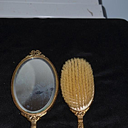 Old Ornate Brush and Mirror Set Fancy Stones Beveled Mirror For your Large Doll