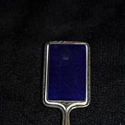 Antique Doll Hand Mirror Compact Enamel Miniature French Fashion Sterling & Enamel Ornate