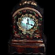 Vintage Doll Miniature Artist Wood Clock Lorrie Sweatt Signed Handpainted Dollhouse