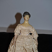 Antique Doll Milliner's Model Fancy Hair Style Wood Carved Papier Mache Paper
