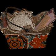 Old Doll Miniature Needle Basket W/ Miniature Faux Books a Desk Mat Letter Lace Pillow Dollhouse