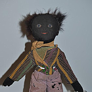 Old Doll Black Cloth Doll Rag Doll Folk Art Painted Features