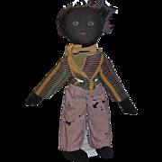 Old Doll Black Cloth Doll Rag Doll Folk Art Painted Features
