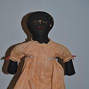 Antique Doll Cloth Doll Rag Doll Black Doll Folk Art Sewn Features W/ Provenance